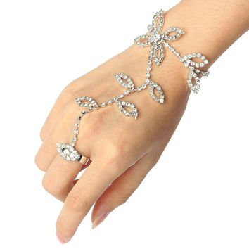 New Leaves Shiny Rhinestone Metal Silver Hand Link Finger Chain Bracelet Ring