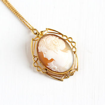 Vintage 10k Rose Gold Filled Carved Shell Cameo Pendant Necklace - Mid-Century Brooch Woman Silhouette Maker's Mark CT