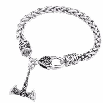 Teamer Viking Charm Bracelets Silver Axe Supernatural Tunes Talisman Amulet Gifts Wiccan Jewelry