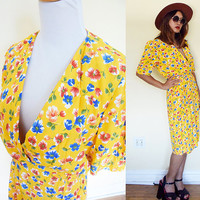 Vintage 50's 60's wrap dress floral flower mid century v-neck yellow secretary knee length housewife day dress
