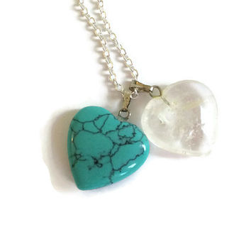 Two Hearts Necklace, Gemstone Necklace, Mothers Necklace, Couples Necklace, Heart Jewelry, Turquoise Necklace, Double Heart Necklace, Friend