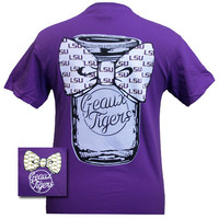 Louisiana State LSU Tigers Mason Jar Big Bow Girlie Bright T Shirt