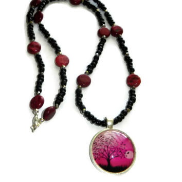 Hot Pink and Black, Tree of Life, Beaded, Charm Necklace