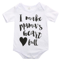 Summer romper newborn kids baby boy girls letter printed romper clothes outfits