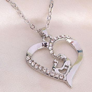Moms Jewelry Chain Link Gift Mother Baby Heart Pendant Mom Daughter Child Family Love Rhinestone Necklace