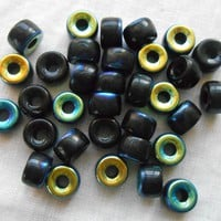 Lot of 25 9mm Czech Jet Black AB glass pony roller beads, large hole crow beads, C1325