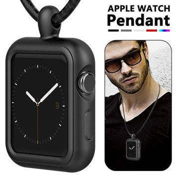 VONL8T Apple Watch Necklace Pendant Apple Watch Silicone Band/Case/Cover Replacement for Series 3/ 2/ Nike+ (42mm Black) - iWatch Pendant