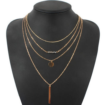 Turquoise crystal bead round bar charm gold chain necklace multi layer statement necklaces amp pendants women summer jewelry