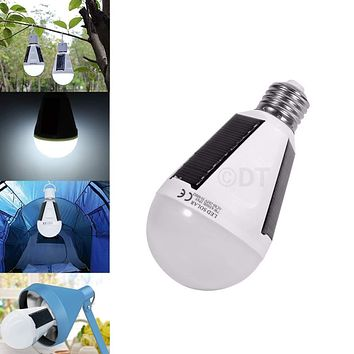 Portable Solar Power LED Bulb Lamp Outdoor Camp Tent Fishing Light 7W 12W E27