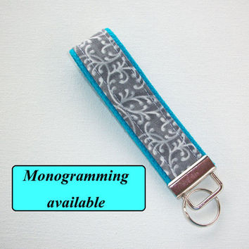 Key FOB / KeyChain / Wristlet  - initial, name, 3 letters monogram - personalized - custom - gray swirls blue