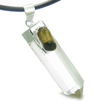 Astrological Virgo Amulet Double Crystal Point Tiger Eye Quartz Leather Pendant Necklace