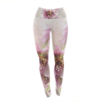 "Sylvia Cook ""Hellabore"" Pink Petals Yoga Leggings"