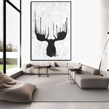 Abstract deer wall art, deer antler large wall art, large abstract painting on canvas, wildlife paining, silhouette art, acrylic painting