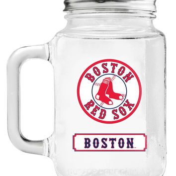 Boston Red Sox Mason Jar Glass With Lid