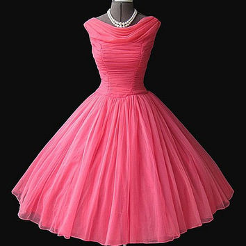 Draped-neckline Strapless Knee Length Ball Gown Simple Organza Watermelon Wedding Party Dress/ Bridesmaid Dresses