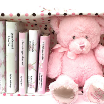 Personalized baby gift -  book set with custom covers - custom gift basket - personalized pink gift - children's gift - shower gift