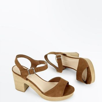 Wide Fit Tan Suedette Wooden Platform Sandals | New Look