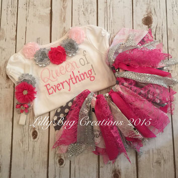 Fabric Tutu, Birthday Tutu, Hot PInk Birthday Outfit, Fabric Tutu, Shabby Chic Tutu, Baby Tutu, Shabby Flower Headband, Baby Headband, Photo