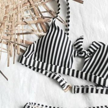 Black White Striped Tie Front Crop Bikini Set