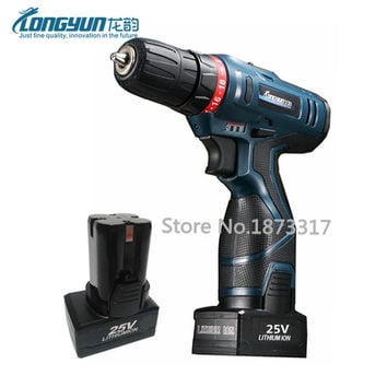 Two batteries 25V waterproof cordless screwdriver infinitely adjustable-speed electric drill double speed adjustable