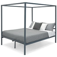 Queen size Grey Metal Platform Bed Frame with Canopy