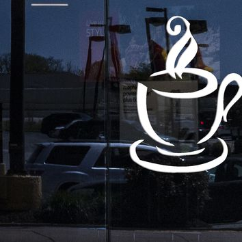 Window Sign Wall Stickers Vinyl Decal Kitchen Cup of Coffee Hot Tea Good Morning Unique Gift z687w