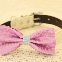 Lavender and Gray bow tie attached to dog collar, Purple wedding accessory