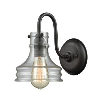 65225/1 Binghamton 1 Light Wall Sconce In Oil Rubbed Bronze With Clear Glass - Free Shipping!