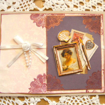 All Occasion Handmade Card Vintage Style Pink and Purple