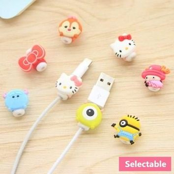 2pcs/lot Cute Cartoon USB Cable Earphone Protector Headphones Line Saver For Mobile Phone Charging Line Data Cable Protection