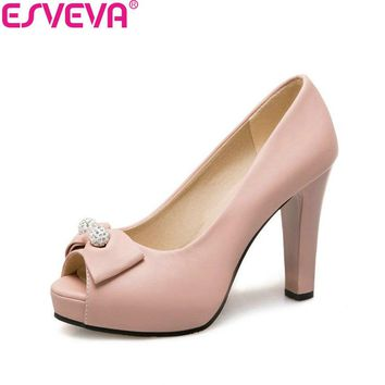 ESVEVA 2018 Women Pumps Shallow Shoes Square High Heels Spring and Autumn Peep Toe Butterfly-knot Ladies Pumps Shoes Size 34-43