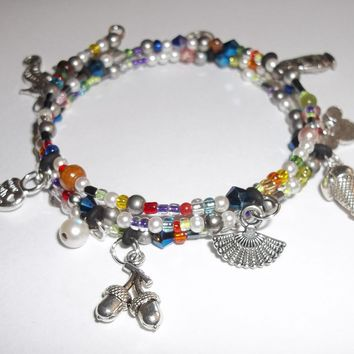 Multi Color Multi Charm Hand Crafted Wrap Bracelet