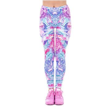 Exotic Purple Flowers Elegant Cozy Aztec Leggings
