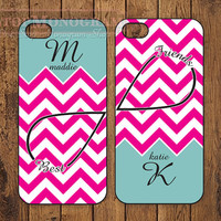 Monogram iphone case - Chevron, Infinity & Best Friends iPhone Case, Personalized iPhone cover - B004