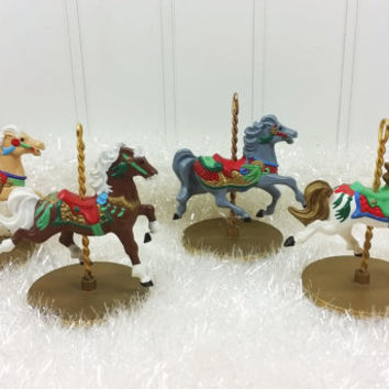 1989 Hallmark Collectible Carousel Horses, Set of 4 Colorful Carousel Horse Ornaments, Snow Holly Star Ginger