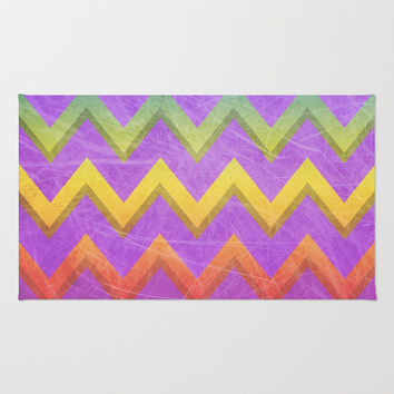 Distressed Rainbow Chevron Area & Throw Rug by Inspired By Fashion