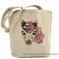Pretty Fancy Pink and White Horse Canvas Tote