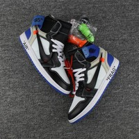 Best Deal Online Nike Air Jordan Retro 1 OFF-WHITE Fragment Sneakers Virgil Abloh Fashion Sports Shoes AA3834-103