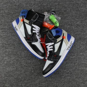 Best Deal Online Nike Air Jordan Retro 1 Virgil Abloh x Fragment Design x Air Jordan 1 Off-White FRAG AA3834-103 Men Basketball Sneakers Sports Shoes