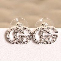 GUCCI Women New fashion letetr more diamond earring accessories Silver