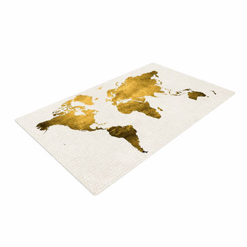 "Chelsea Victoria ""Let Love Light The Way"" Gold Love Woven Area Rug"