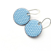 Pastel Blue and White Enamel Earrings, Polka Dots, Copper and Sterling Silver