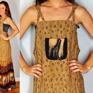 Summer Maxi Dress, Ethnic Giraffe Animal Print Jumper, Over Alls Dress, Brown Dress