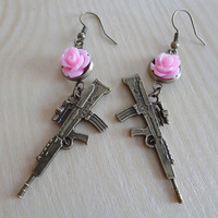 Machine Gun Charm Earrings with Pink Roses by CraftandSoul on Etsy
