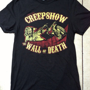 Wall of death motorcycle  creepshow horror skeleton grim reaper circus sideshow freak show Harley Davidson triumph BSA chopper bobber shirt
