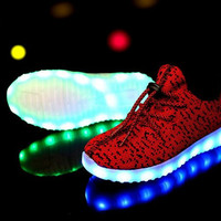 Children Shoes With Light Boys And Girls Casual LED Shoes For Kids 2016 Good Quality LED Light Up Usb 7 Colors Kids Shoes 25-37