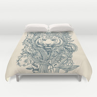 Tiger Tangle Duvet Cover by Micklyn
