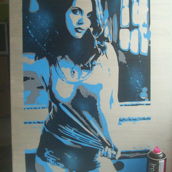 blue & silver girl custom stencil art painting,graffitti canvas,sexy,any colours,silver acrylic,wall art,urban,window,home,living,gift,large