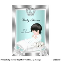 Prince Baby Shower Boy Mint Teal Blue Crown 2 Custom Invitation from Zazzle.com