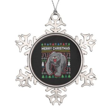 Bear Ugly Christmas Sweater Wildlife Series Snowflake Pewter Christmas Ornament